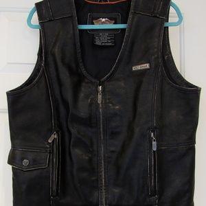 Harley Davidson Black Leather Vest Mens Large